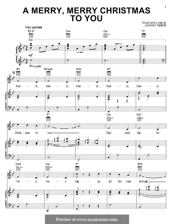 A Merry, Merry Christmas to You: Für Stimme und Klavier (oder Gitarre) by Johnny Marks