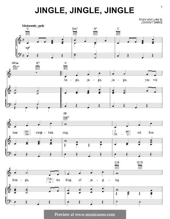 Jingle, Jingle, Jingle: Für Stimme und Klavier (oder Gitarre) by Johnny Marks