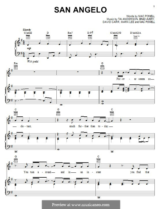 San Angelo (Third Day): Für Stimme und Klavier (oder Gitarre) by Brad Avery, Tai Anderson, David Carr, Mac Powell, Mark Lee