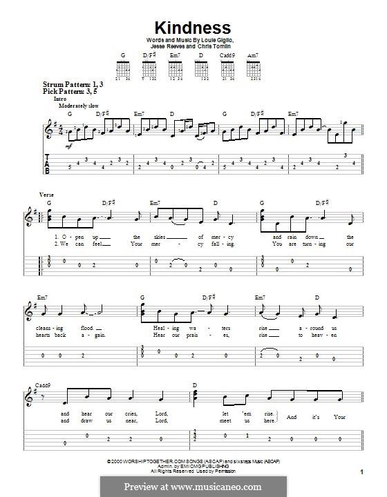 Kindness: Für Gitarre mit Tabulatur by Chris Tomlin, Jesse Reeves, Louie Giglio