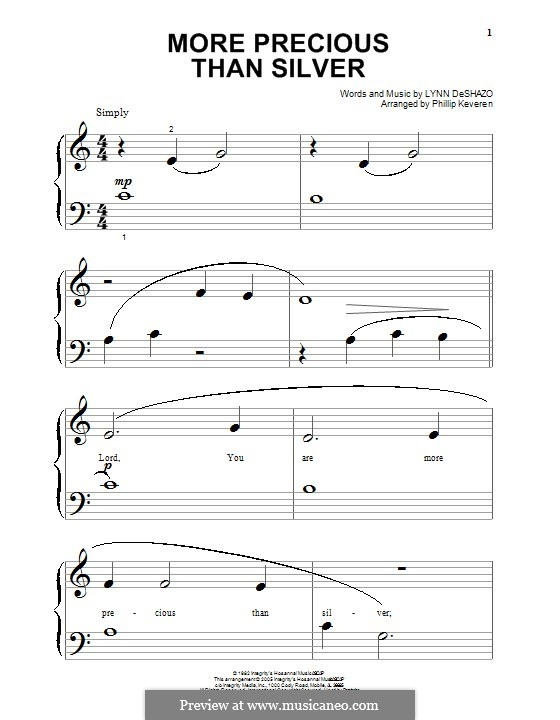 More Precious Than Silver: Für Klavier by Lynn DeShazo