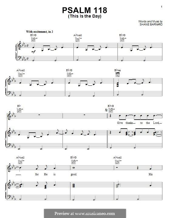 Psalm 118 (This is the Day): Für Stimme und Klavier (oder Gitarre) by Shane Barnard