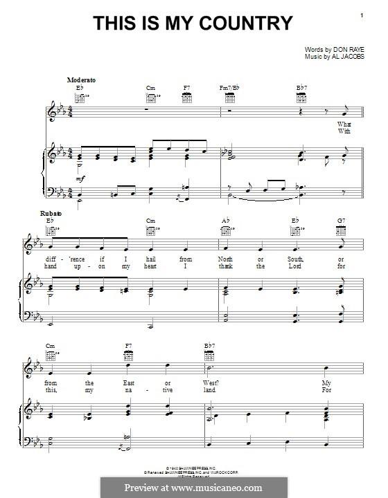 This Is My Country (Tennessee Ernie Ford): Für Stimme und Klavier (oder Gitarre) by Al Jacobs