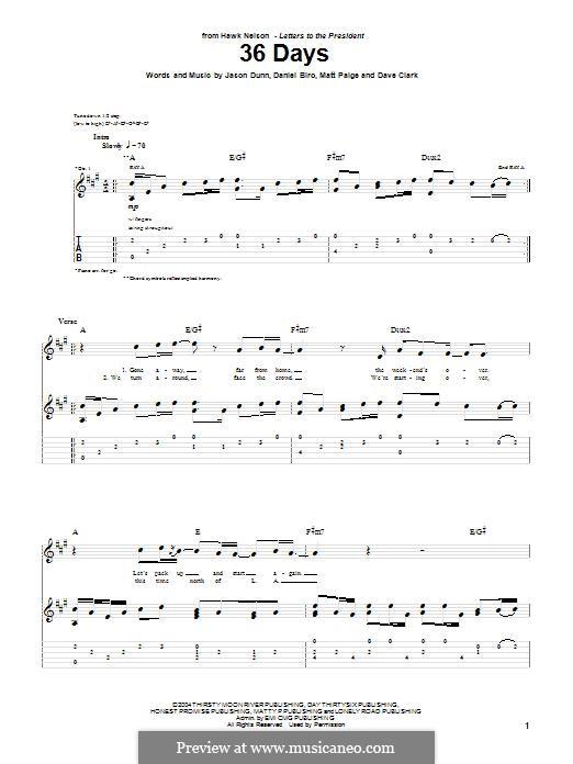 36 Days (Hawk Nelson): Für Gitarre mit Tabulatur by Dave Clark, Daniel Biro, Jason Dunn, Matt Paige