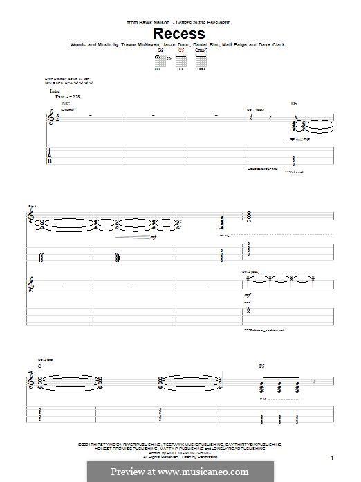 Recess (Hawk Nelson): Für Gitarre mit Tabulatur by Dave Clark, Trevor McNevan, Daniel Biro, Jason Dunn, Matt Paige