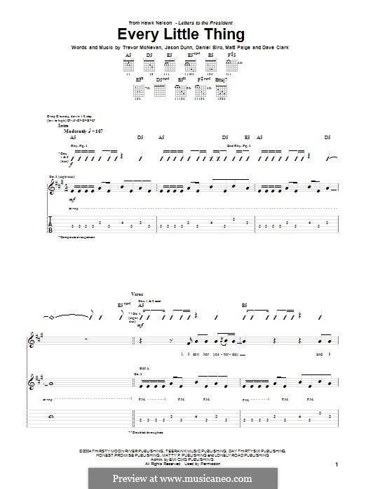Every Little Thing (Hawk Nelson): Für Gitarre mit Tabulatur by Dave Clark, Trevor McNevan, Daniel Biro, Jason Dunn, Matt Paige