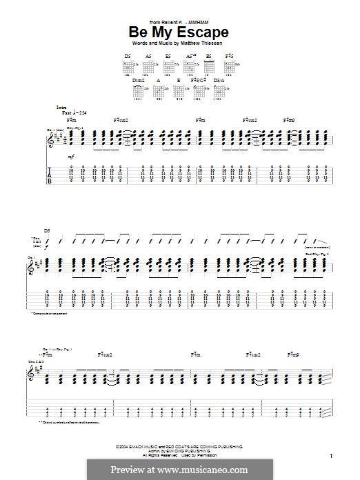 Be My Escape (Relient K): Für Gitarre mit Tabulatur by Matt Thiessen
