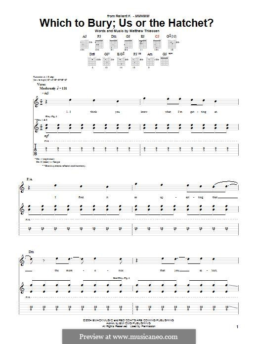 Which To Bury; Us or the Hatchet? (Relient K): Für Gitarre mit Tabulatur by Matt Thiessen