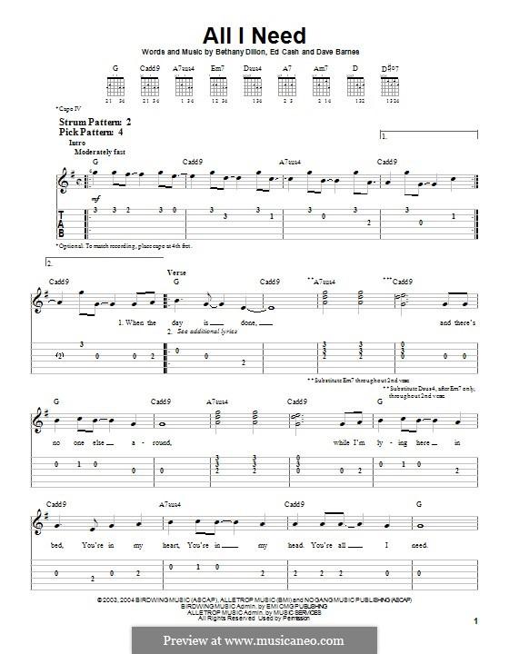 All I Need: Für Gitarre mit Tabulatur by Ed Cash, Dave Barnes, Bethany Dillon