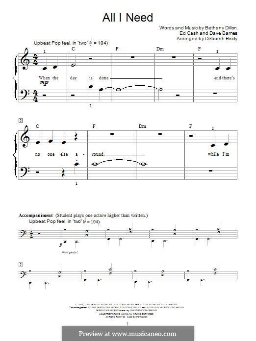 All I Need: Für Klavier by Ed Cash, Dave Barnes, Bethany Dillon
