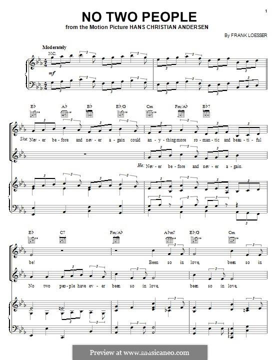 No Two People (Doris Day): Für Stimme und Klavier (oder Gitarre) by Frank Loesser