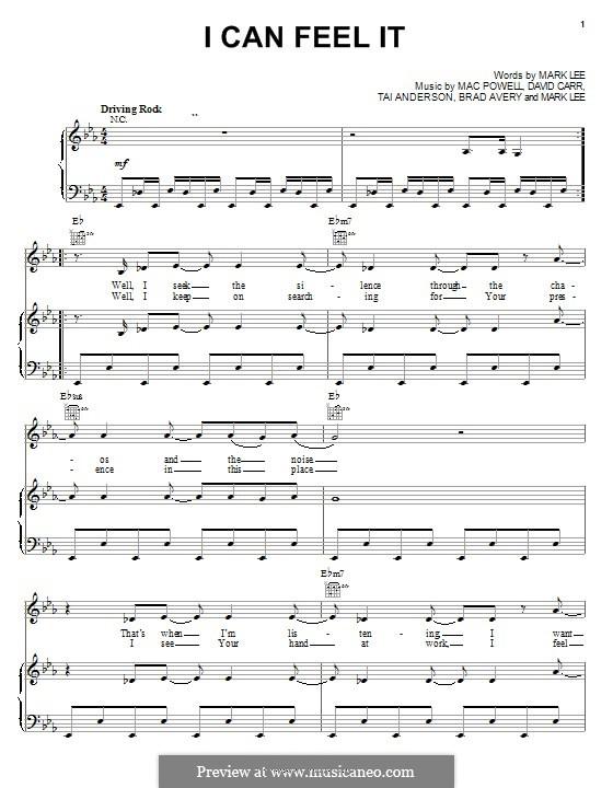 I Can Feel It (Third Day): Für Stimme und Klavier (oder Gitarre) by Brad Avery, Tai Anderson, David Carr, Mac Powell, Mark Lee