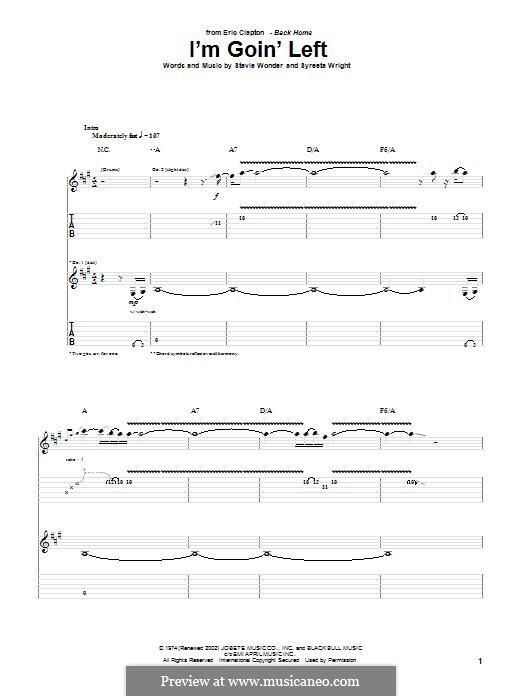 I'm Goin' Left: Für Gitarre mit Tabulatur by Stevie Wonder, Syreeta Wright