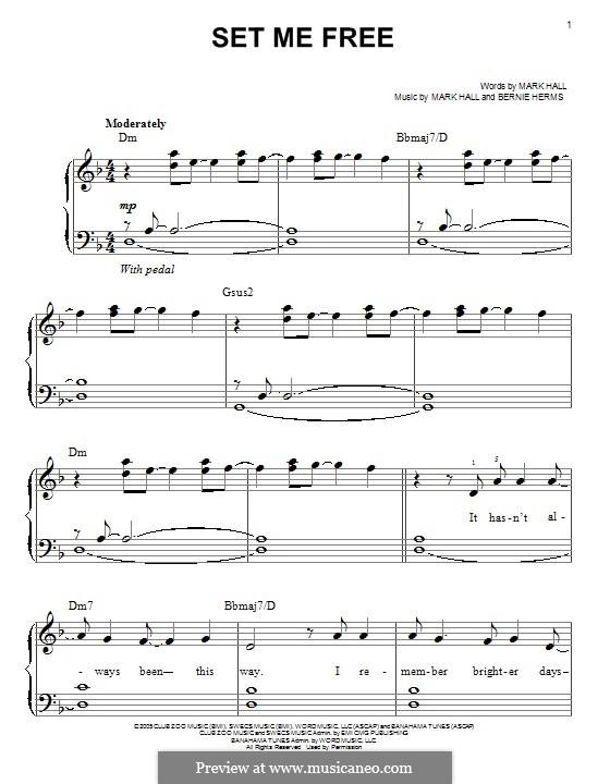 Set Me Free (Casting Crowns): Für Klavier by Bernie Herms, Mark Hall