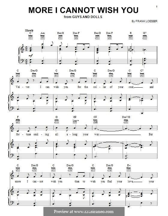 More I Cannot Wish You: Für Stimme und Klavier (oder Gitarre) by Frank Loesser