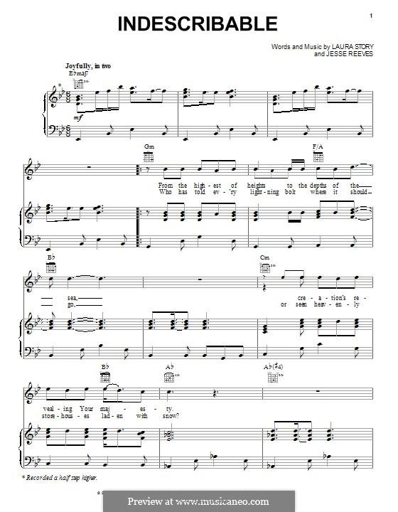 Indescribable (Avalon): Für Stimme und Klavier (oder Gitarre) by Jesse Reeves, Laura Story