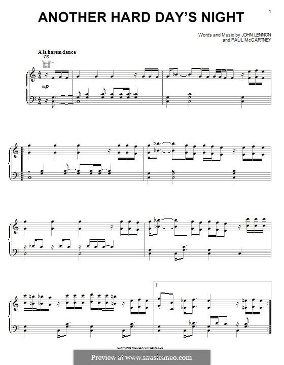 Another Hard Day's Night (The Beatles): Für Stimme und Klavier (oder Gitarre) by John Lennon, Paul McCartney