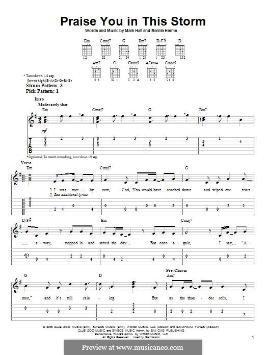 Praise You in This Storm (Casting Crowns): Für Gitarre mit Tabulatur by Bernie Herms, Mark Hall