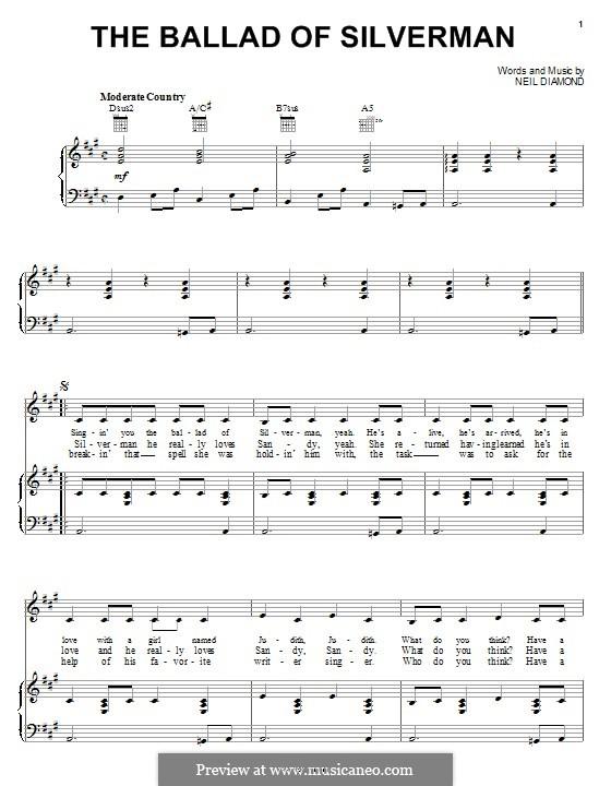 The Ballad of Silverman: Für Stimme und Klavier (oder Gitarre) by Neil Diamond