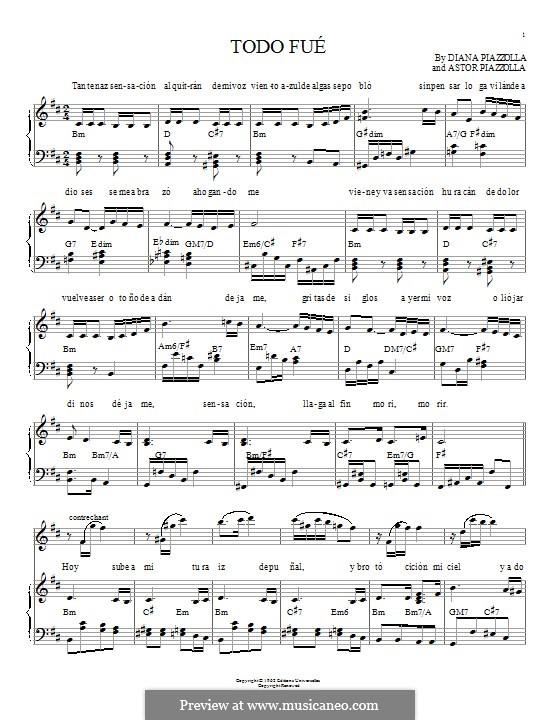 Todo Fue: Für Klavier by Astor Piazzolla, Diana Piazzolla