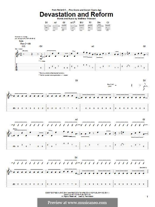 Devastation and Reform (Relient K): Für Gitarre mit Tabulatur by Matt Thiessen