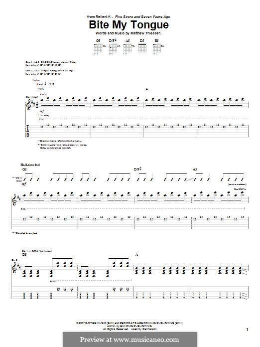 Bite My Tongue (Relient K): Für Gitarre mit Tabulatur by Matt Thiessen