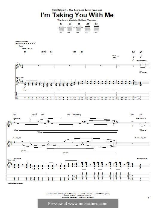 I'm Taking You with Me (Relient K): Für Gitarre mit Tabulatur by Matt Thiessen