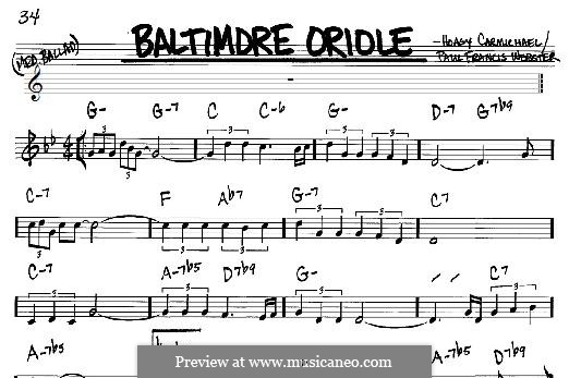 Baltimore Oriole: For any instrument by Hoagy Carmichael, Paul Francis Webster