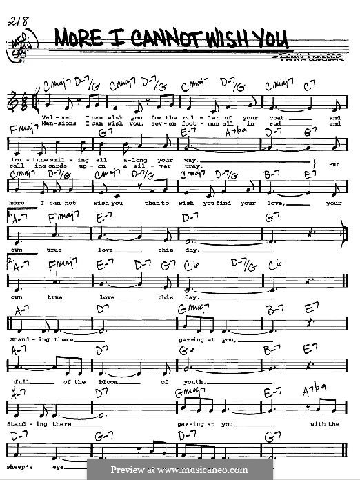 More I Cannot Wish You: For any instrument by Frank Loesser