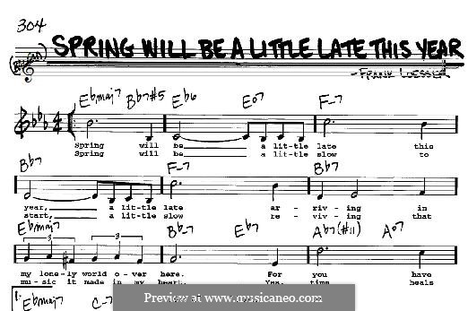 Spring Will Be a Little Late This Year: For any instrument by Frank Loesser