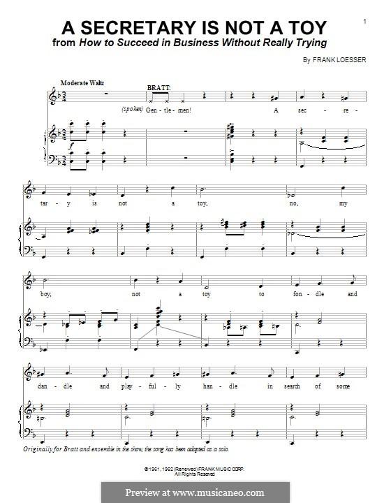 A Secretary is not a Toy: Für Stimme und Klavier (oder Gitarre) by Frank Loesser