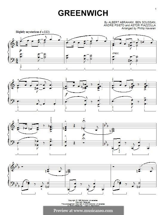 Greenwich: Für Klavier by Astor Piazzolla, Albert Abraham, Ben Soussan, Andre Psieto