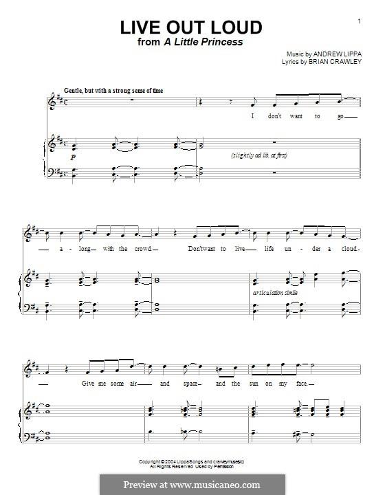 Live Out Loud: Für Stimme und Klavier (oder Gitarre) by Andrew Lippa