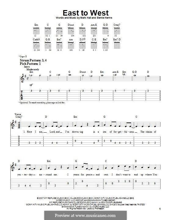 East to West (Casting Crowns): Für Gitarre mit Tabulatur by Bernie Herms, Mark Hall