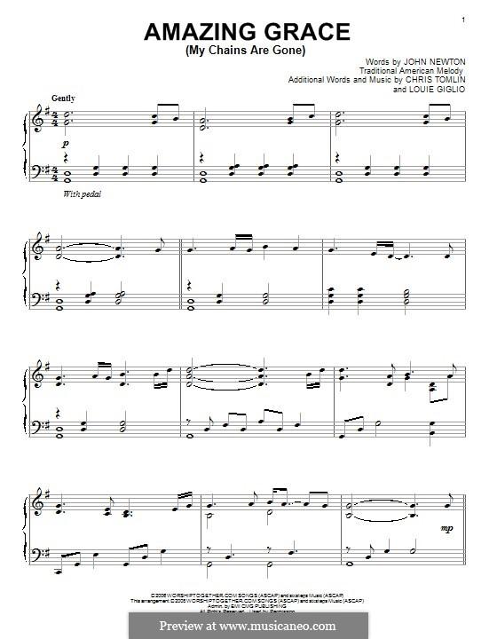 Amazing Grace (My Chains Are Gone): Für Klavier by Chris Tomlin, Louie Giglio