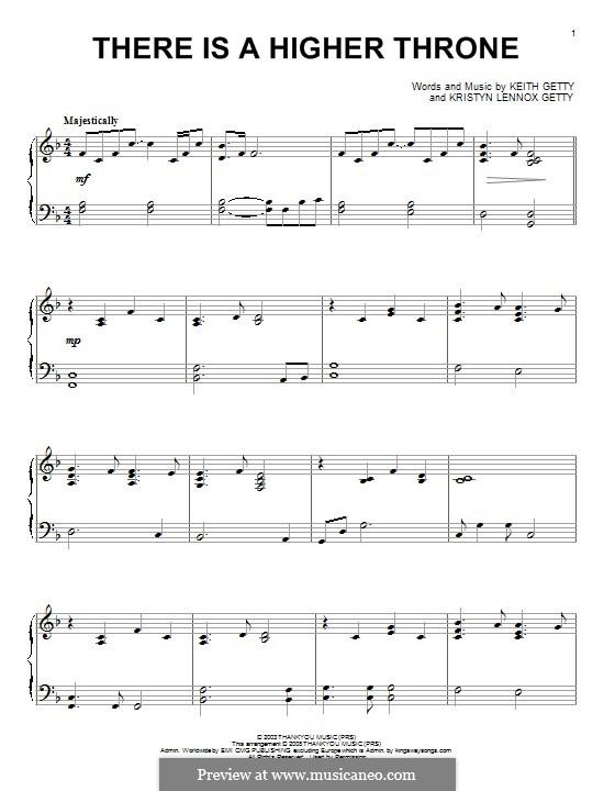 There is a Higher Throne: Für Klavier by Keith Getty, Kristyn Getty