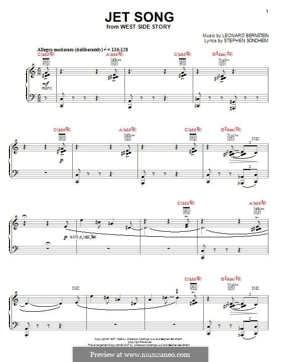 Jet Song: Für Stimme und Klavier (oder Gitarre) by Leonard Bernstein