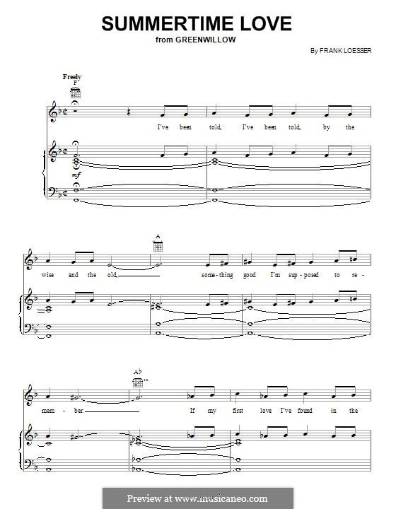 Summertime Love: Für Stimme und Klavier (oder Gitarre) by Frank Loesser