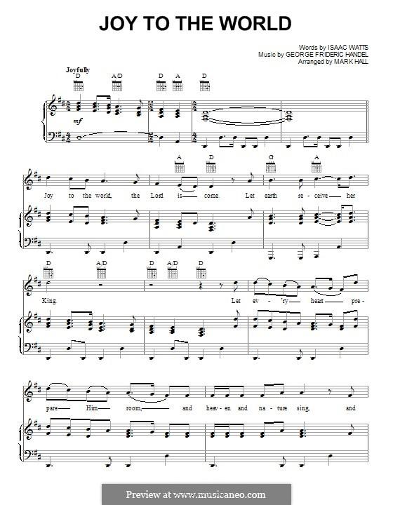 Joy to the World (Printable Scores): Für Stimme und Klavier (oder Gitarre) by Georg Friedrich Händel