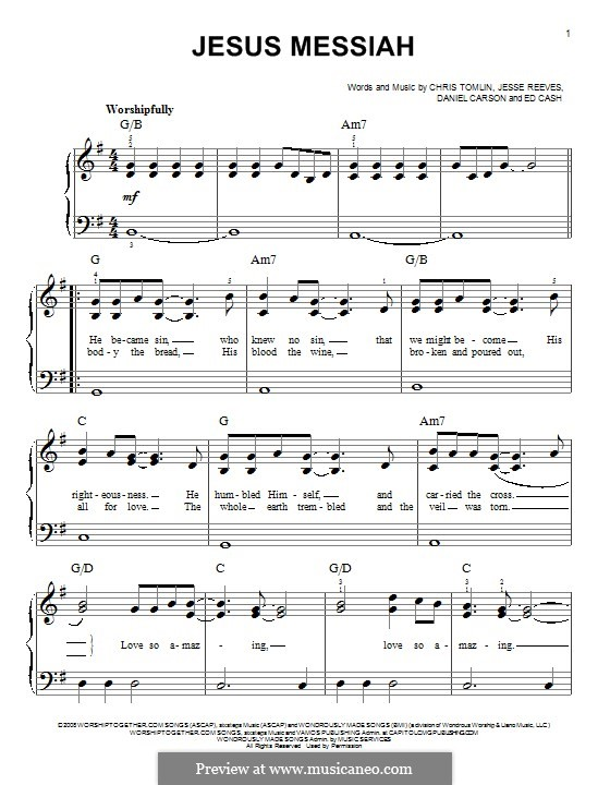 Jesus Messiah: Für Klavier by Chris Tomlin, Daniel Carson, Ed Cash, Jesse Reeves