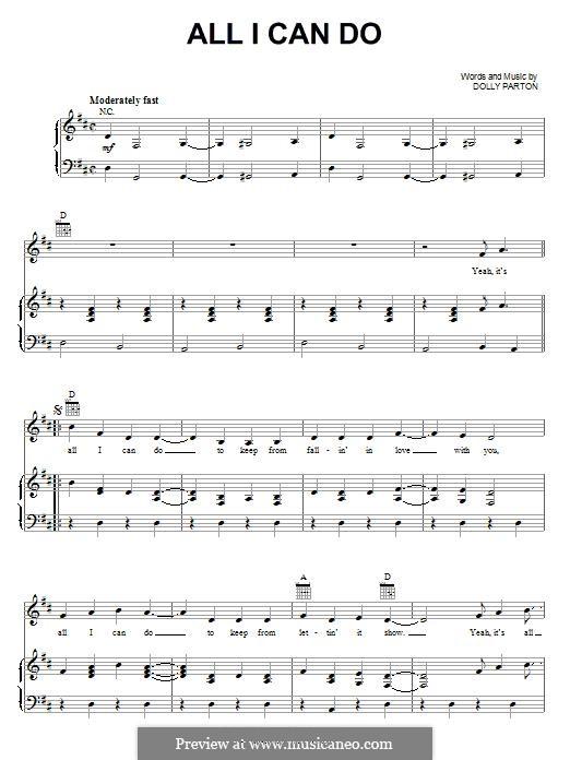 All I Can Do: Für Stimme und Klavier (oder Gitarre) by Dolly Parton