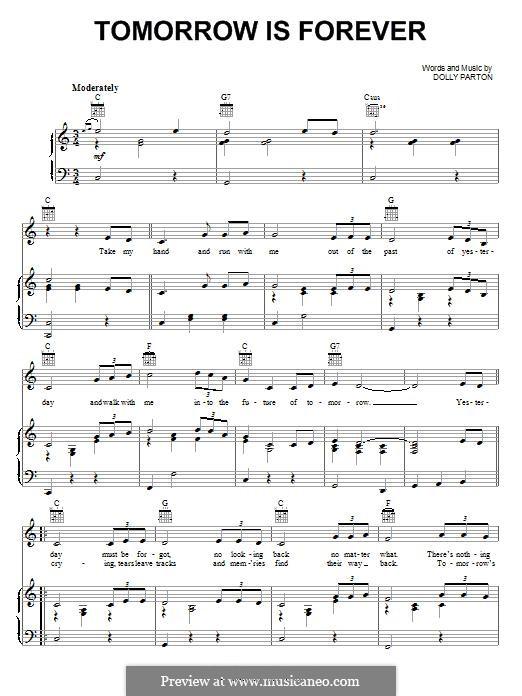 Tomorrow is Forever: Für Stimme und Klavier (oder Gitarre) by Dolly Parton