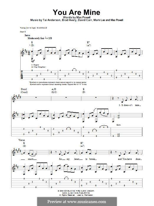 You are Mine (Third Day): Für Gitarre mit Tabulatur by Brad Avery, Tai Anderson, David Carr, Mac Powell, Mark Lee
