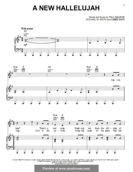 A New Hallelujah: Für Stimme und Klavier (oder Gitarre) by Michael W. Smith, Paul Baloche, Deborah D. Smith