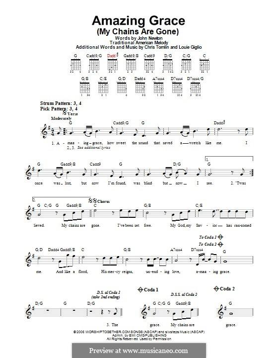 Amazing Grace (My Chains Are Gone): Für Gitarre mit Tabulatur by Chris Tomlin, Louie Giglio