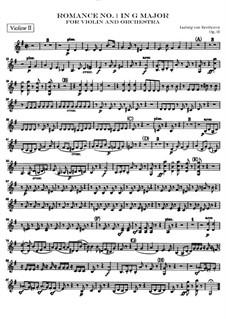 Romanze für Violine und Orchester Nr.1 in G-Dur , Op.40: Violinstimme II by Ludwig van Beethoven