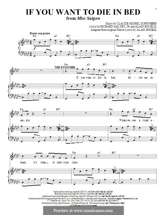 If You Want To Die in Bed: Für Stimme und Klavier (oder Gitarre) by Claude-Michel Schönberg