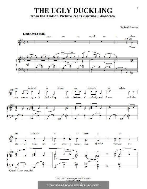 The Ugly Duckling: Für Stimme und Klavier (oder Gitarre) by Frank Loesser