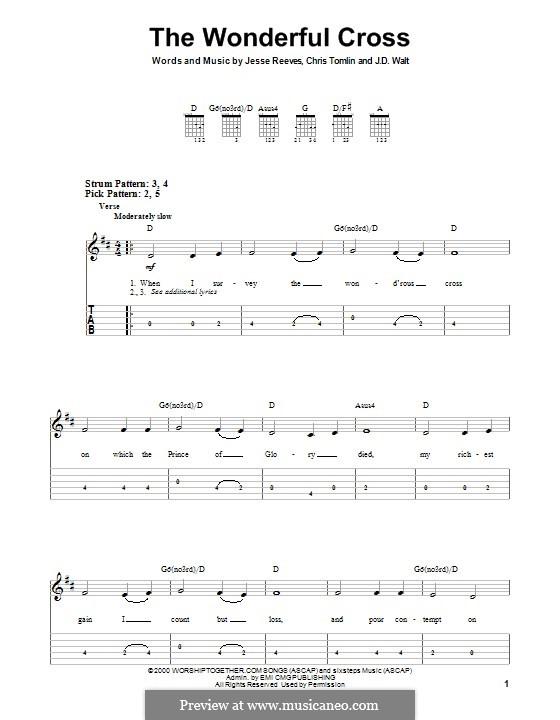 The Wonderful Cross (Phillips, Craig & Dean): Für Gitarre mit Tabulatur by Chris Tomlin, Jesse Reeves