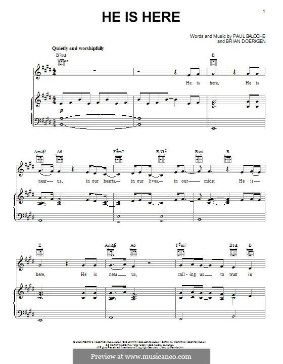 He is Here: Für Stimme und Klavier (oder Gitarre) by Paul Baloche, Brian Doerksen